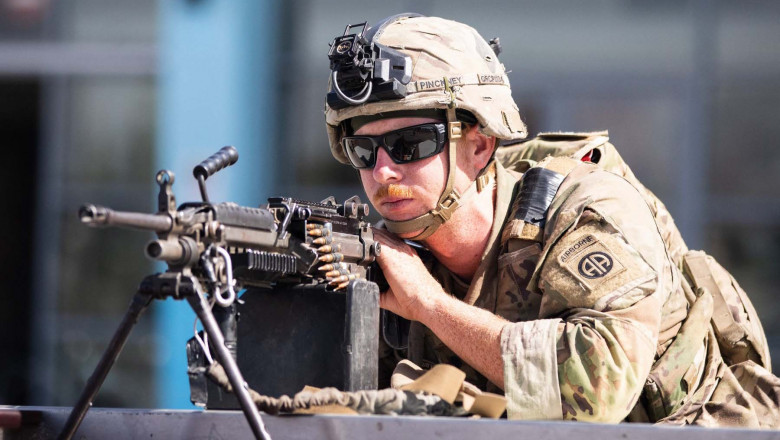 A U.S soldier from the XVIII Airborne Corps in position guarding the at Hamid Karzai International Airport in Kabul, Afghanistan, on Aug 27, 2021.
