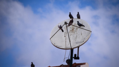 porumbei pe o antena de satelit