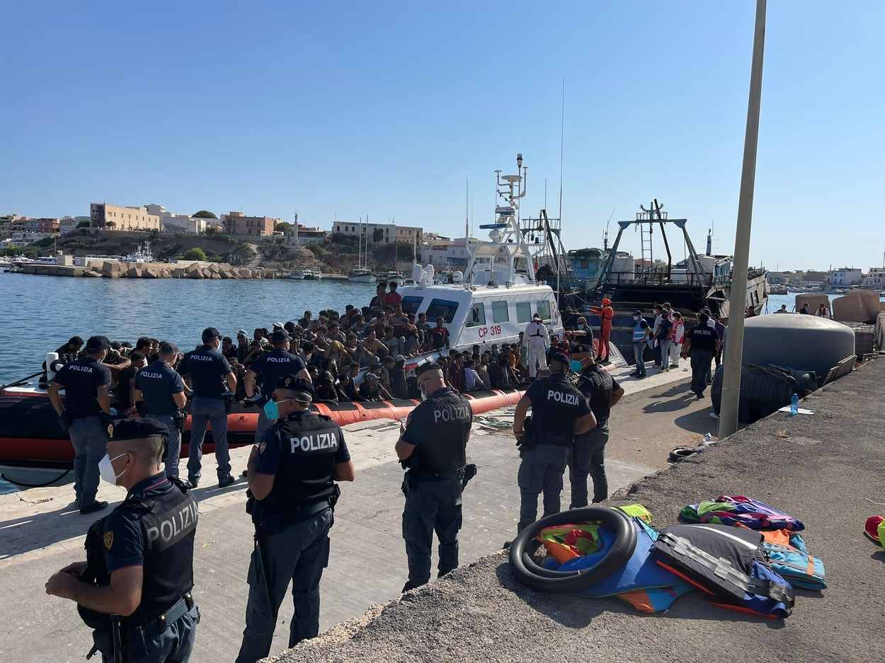 Lampedusa Southern Border Of Europe: Over 500 Disembark From A Fishing Boat