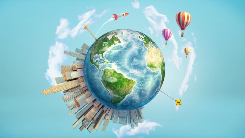planeta inconjurata de blocuri transport cu balonul