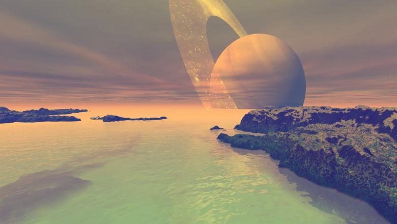 Ilustrație a suprafeței de pe Titan cu planeta Saturn vizibilă pe cerul planetei