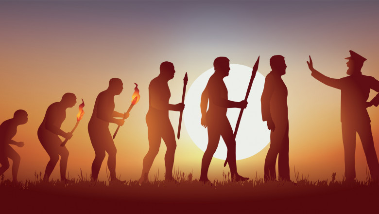 The evolution of mankind according to Darwin stopped in his March forward by an authoritarian man.
