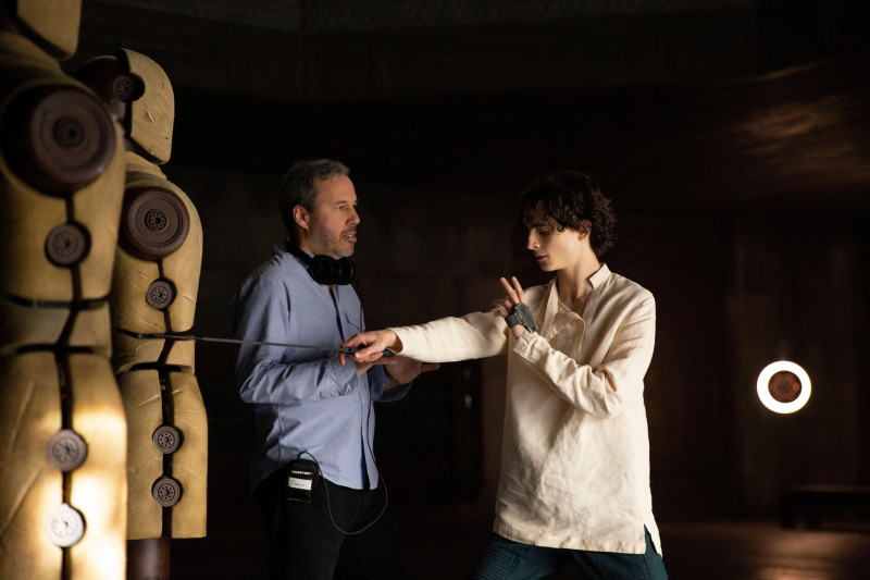 USA. Director- Denis Villeneuve and Timothee Chalamet filming a scene from (C)Warner Bros new film : Dune (2021). Plot: Feature adaptation of Frank Herbert's science fiction novel, about the son of a noble family entrusted with the protection of the