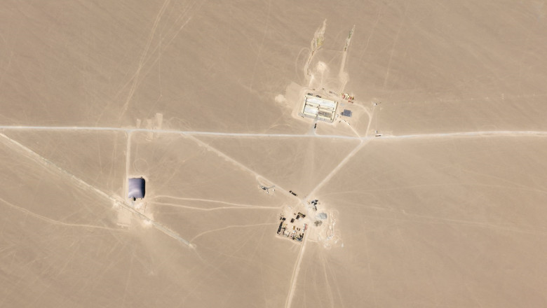 satellite image obtained on July 29, 2021 courtesy of Planet Labs Inc. shows an image that researchers say are missile silos under construction in the Chinese desert