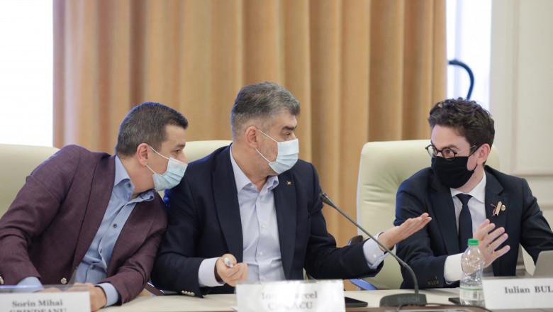 Prim-vicepreședintele PSD Sorin Grindeanu, marcel ciolacu si iulian bulai