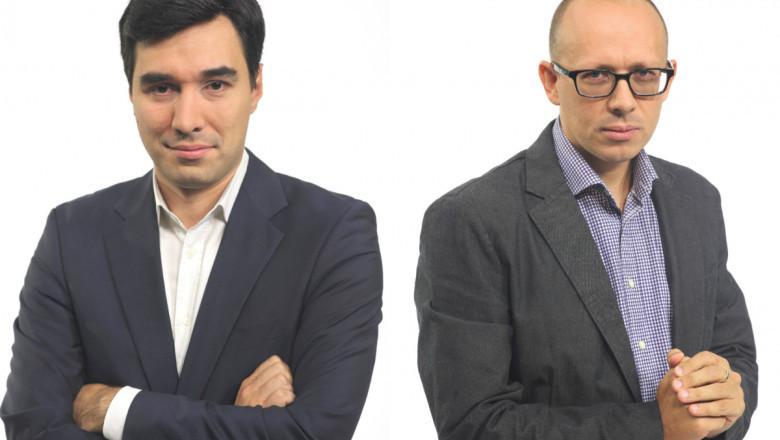 Jurnaliștii Cladiu Pândaru și Florin Negruțiu.