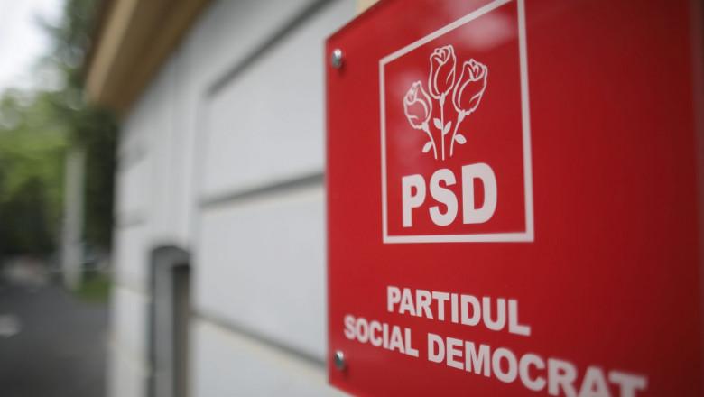 Logo-ul PSD la intrarea în sediul partidului.