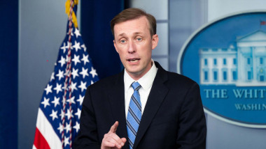 National Security Advisor Jake Sullivan speaking at a press briefing in the White House