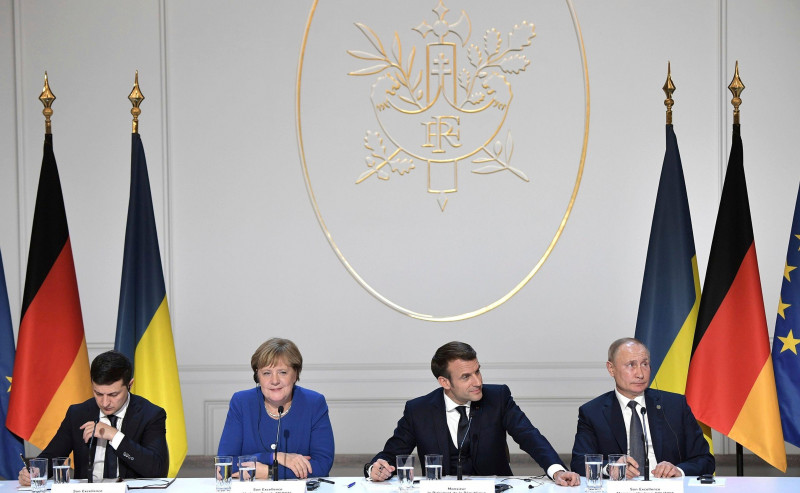 Paris, France. 10 December, 2019. The leaders of Ukrainian, France, Russia and Germany together during a joint press conference following the conclusion of the Normandy Format Summit meeting at the Elysee Palace December 10, 2019 in Paris, France. From le