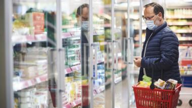 barbat cu cos de cumparaturi in supermarket