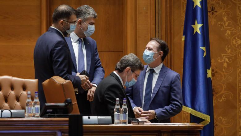 florin citu vorbeste cu marcel ciolacu in parlament