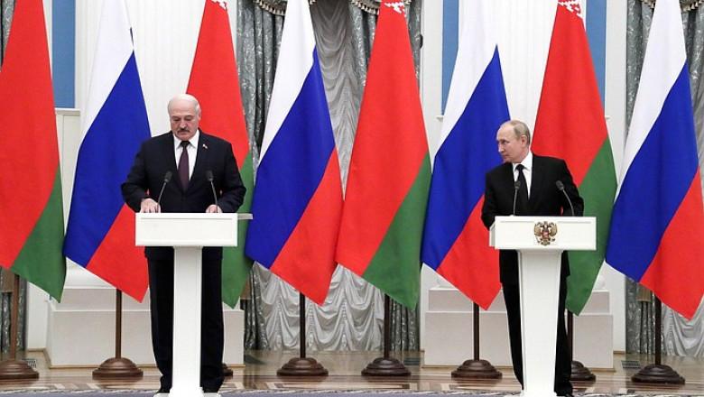Vladimir Putin și Aleksandr Lukașenko fac declarații după întâlnirea menită să consolideze integrarea economică.