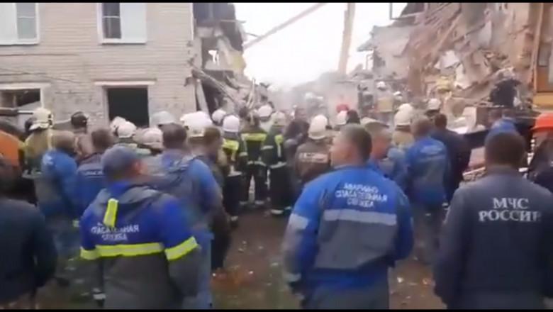 clădire prăbușită parțial în Rusia