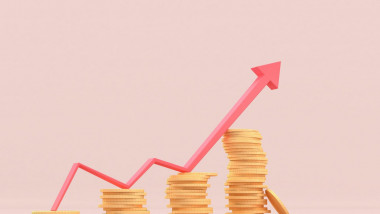Growing bars graphic with rising arrow. Stocks, investment, finance concepts 3d illustration.