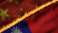 3D rendering of the flags of China and Taiwan on fire illustrating the concept of political tension and conflict between the two entities.