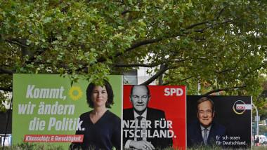De la stânga la dreapta, cei trei candidați la funcția de cancelar al Germaniei în alegerile din 26 septembrie. Annalena Baerbock (Partidul Verzilor), Olaf Scholz (SPD), Armin Laschet (CDU-CSU).