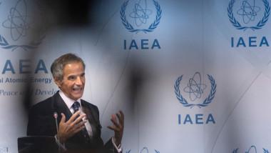 Directorul general al Agenției Internaționale pentru Energie Atomică (AIEA), Rafael Mariano Grossi, în timpul unei conferințe de presă din 13 septembrie 2021, care a fost susținută după ședința Consiliului AIEA întrunit la sediul agenției din Viena.