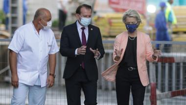 Florin Cîțu și Ursula von der Leyen în vizită la spitalul Universitar din București.