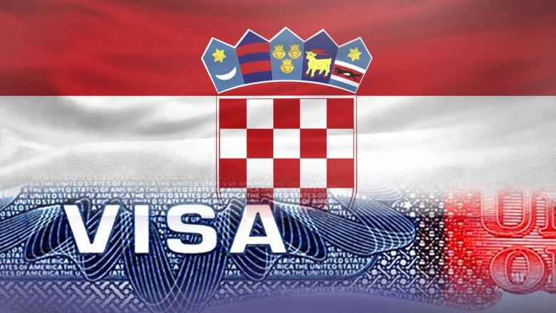 Montaj foto cu drapelul Croației și viza de intrare înSUA
