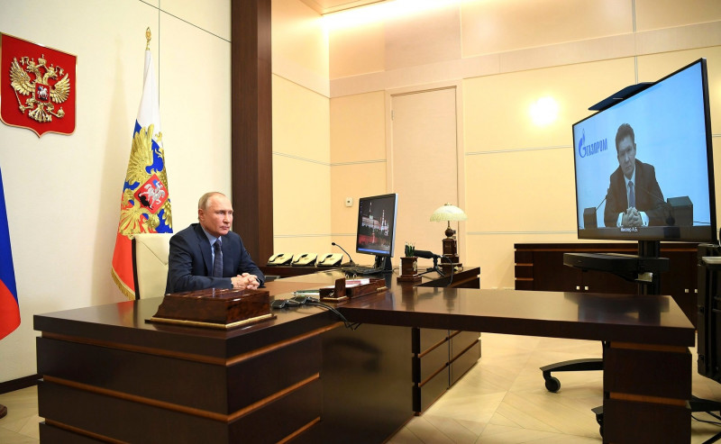Russian President Putin Holds Video Conferene with Gazprom CEO Alexei Miller