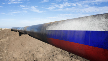 Gas pipeline with Russian flag.