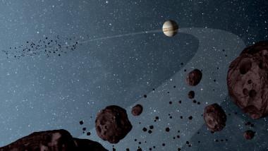 Asteroizi și planeta Jupiter pe fundal