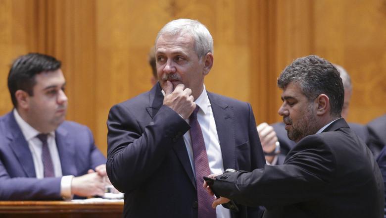 Liviu Dragnea și Marcel Ciolacu în Parlament.