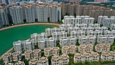 Clădiri construite de Evergrande în Ocean Flower Island, un arhipeleag artificial construit în Danzhou, Hainan.