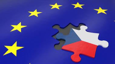 3d illustration demonstrate Czech Respublic exit from EU