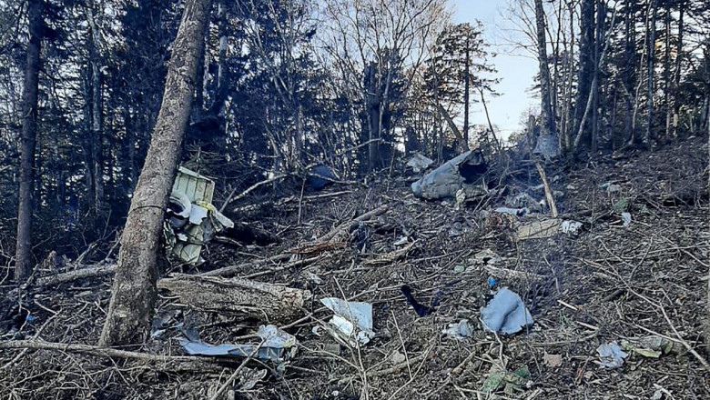 zonă cu copaci și rămășițele unui avion rusesc antonov