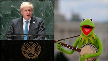 Premierul britanic Boris Johnson la ONU (stânga) și personajul Broscoiul Kermit (dreapta).