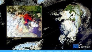 Satelitul Sentinel 2 a surprins erupția vulcanului din La Palma.