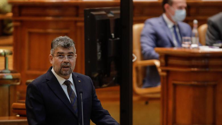 Marcel Ciolacu vorbește în plenul Parlamentului.