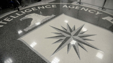 The seal of the Central Intelligence Agency (CIA) is seen on the floor