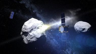 simulare pe computer cu asteroizii Didymos and Dimorphos, si naveta spatiala dart