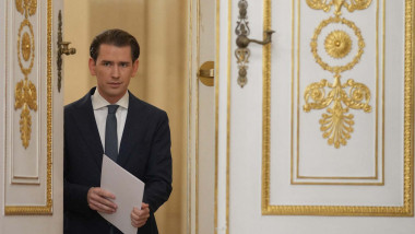 Austrian Chancellor Sebastian Kurz arrives to give a press statement on the government crisis at the Federal Chancellery in Vienna