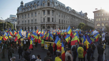 Grup mare de oameni la un protest, cu steaguri și pancarte