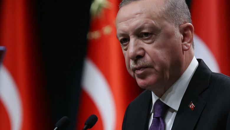 Președintele Erdogan face declarații.