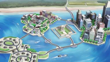 concept de oras plutitor, ilustratie grafica