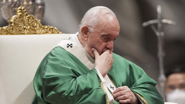 Pope Francis during the mass on the occasion of the opening of the synod of bishops , path on synodality in the Vatican