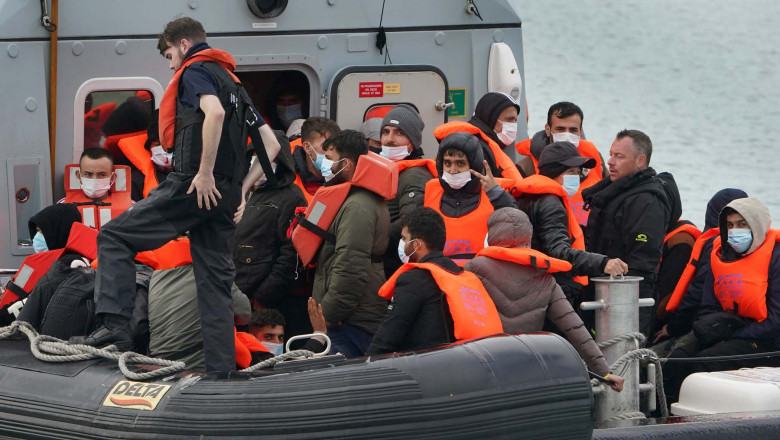 A group of people thought to be migrants are brought in to Dover, Kent, onboard a Border Force vessel following a small boat incident in the Channel