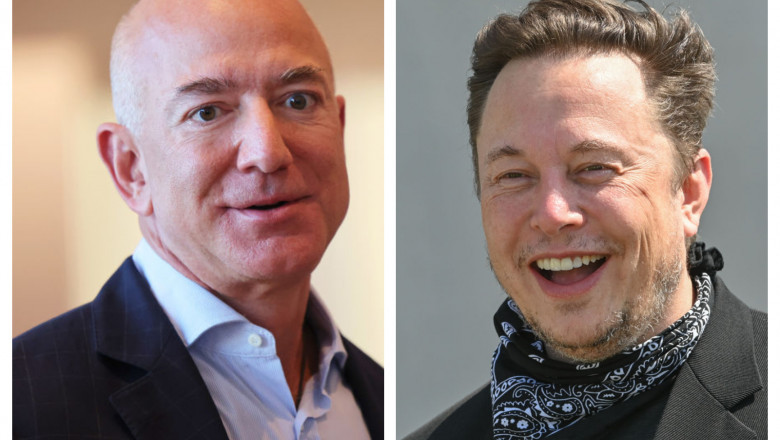 Jeff Bezos și Elon Musk.