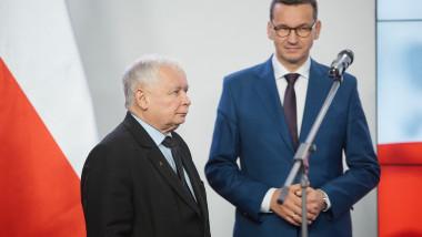 Kaczynski trece prin fața lui Morawiecki care stă cu mâinile împreunate