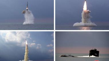 Colaj foto racheta lansată de pe submarin