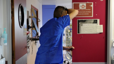 Medical intensive care unit at Jacques Cartier Hospital in Massy. All the beds in the service since the start of the Covid 19 pandemic have been reserved for the reception of patients in need of respiratory assistance. Hospital workers, nursing assistants, nurses,