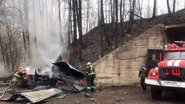 Fighting a fire at the Elastic gunpowder factory in the village of Lesnoye, Shilovsky District