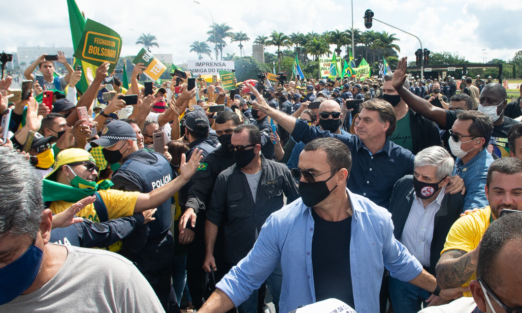 Bolsonaro Speaks with his Supporters in Front of Palacio do Planalto Amidst the Coronavirus (COVID - 19) Pandemic