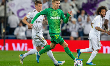 Real Sociedad's Martin Odegaard seen in action during the Spanish quarterfinal Copa del Rey match between Real Madrid and Real Sociedad at Santiago Bernabeu Stadium in Madrid.(Final score; Real Madrid 3:4 Real Sociedad)