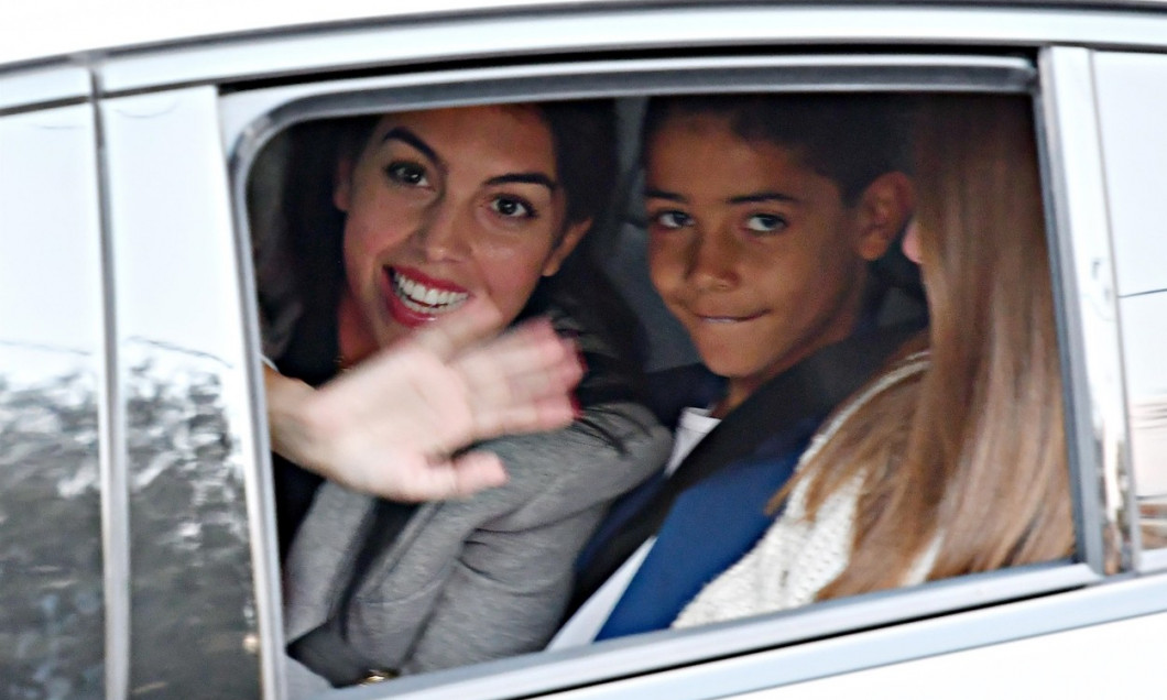 Georgina Rodriguez leaves the Hotel Globo in San Remo with her son Cristiano Jr