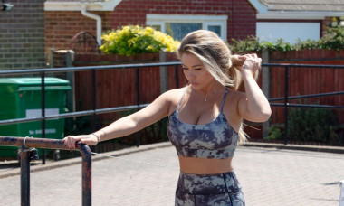 *EXCLUSIVE* Model and reality star Bianca Gascoigne shows off her amazing figure in a tie-dye 2 piece as she heads for a run in Gravesend in Kent. Bianca seems to have shrugged off the stressful few weeks she has had with her boyfriend Kris Boyson's ex